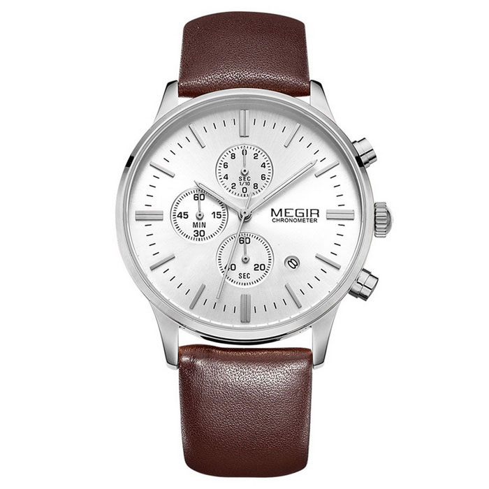 MEGIR Men's Leather Wristband Sports Quartz Watch - White + Brown
