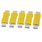 USB 2.0 Male to Female Connector Adapter - Yellow + Silver (5PCS)