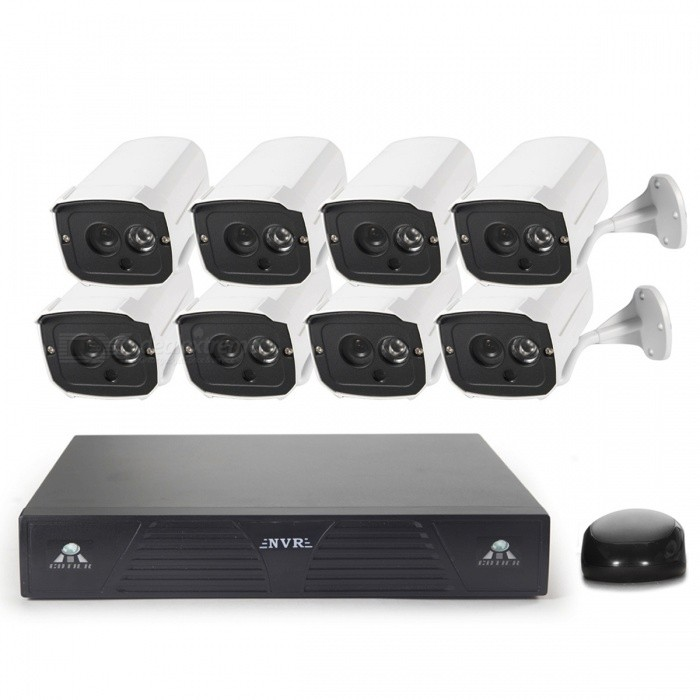 COTIER 8-CH P2P Cloud Network 720P IP Camera NVR Kits - White + BlackNVR Cards &amp; Systems<br>Form  ColorWhite + BlackPower AdapterEU PlugModelN8B7M/KitMaterialAluminumQuantity1 DX.PCM.Model.AttributeModel.UnitVideo Compressed FormatH.264Video InputOthers,8ChannelVideo OutputOthers,1-CH VGA + 1-CH HDMIVideo SystemAutoVideo StandardsH.264Max Capacity4TBInterface TypeSATA,Others,USBOperating SystemWindows 7,Android 4.0,LinuxSupported LanguagesEnglish,Simplified ChinesePTZ ControlPTZPicture Resolution1280*720Working Temperature-10~+55 DX.PCM.Model.AttributeModel.UnitWorking Humidity10%-90%Storage TemperatureYesAlarm InputNOAlarm OutputNONetwork InterfaceRJ45USB Port Qty2 DX.PCM.Model.AttributeModel.UnitPower AdaptorYesRate Voltage12VRated Current2 DX.PCM.Model.AttributeModel.UnitPower24 DX.PCM.Model.AttributeModel.UnitPower SupplyOthers,AC100-240VCertificationCE FCPacking List8 x IP Cameras (55cm cable)1 x NVR8 x IP Camera power supply (100-240V EU Plug 89cm-Cable)1 x NVR Power supply (100-240V  EU plug 112cm  Cable  )2 x CDs1 x Mouse( 125cm-cable )8 x Screws<br>