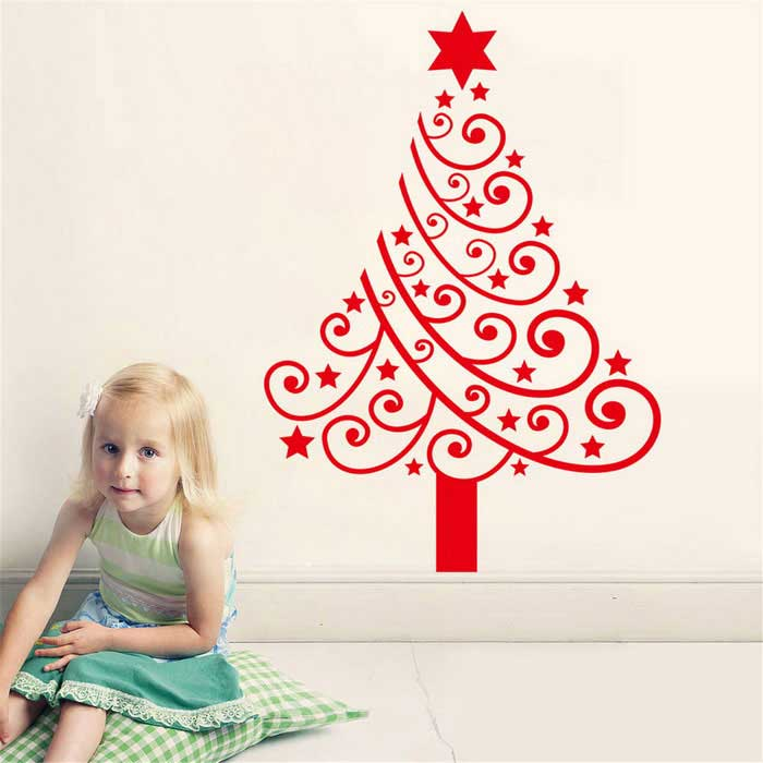 New Year Christmas Children's Room Waterproof Removable Sticker - Red