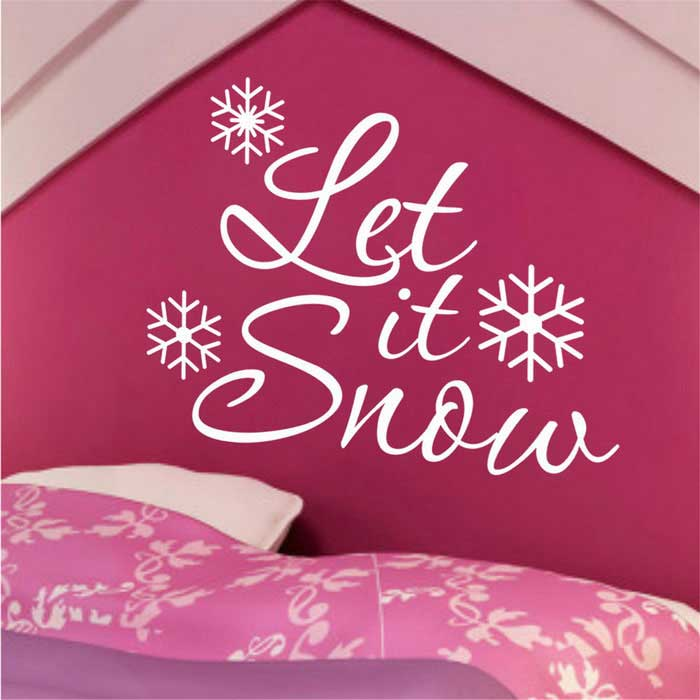 Waterproof Let It Snow Printed Christmas Snowflake Living Room Bedroom Backdrop Sticker - White(SKU 411081)