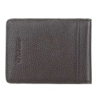 JINBAOLAI Men's Leather Cards Holder Wallet w/ Cash Clip - Brown