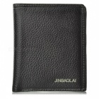 JIN BAO LAI Men's Fashionable Genuine Leather Cards Holder Money Cash Clip Wallet - Black