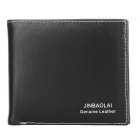 JINBAOLAI Men's Bi-Fold Genuine Leather Cards Holder Wallet - Black