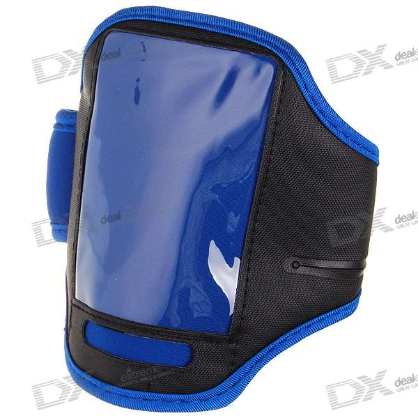 Trendy Sports Armband for Iphone 4 (Blue + Black) zippered sports armband bag pouch for iphone 4 dark blue