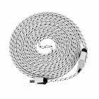 Micro USB to USB 2.0 Nylon Braided Cable - White + Black (3m)