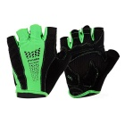 MOke Outdoor Cycling Sweat-Absorbing Polyester Half-Finger Gloves - Green + Black (M / Pair)