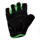 MOke Sweat-Absorbing Polyester Half-Finger Gloves - Green + Black (M)