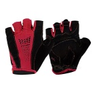 MOke Sweat-Absorbing Polyester Half-Finger Gloves - Red + Black (L)