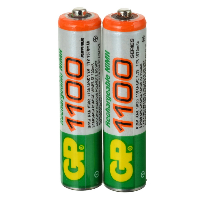GP 1.2V 1100mAh Ni-MH Rechargeable AAA Batteries (2-Pack) 8pcs pkcell battery aaa pre charged nimh 1 2v 1200mah ni mh 3a rechargeable batteries up to 1000mah capacity cycle 1200times