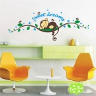 Cartoon Monkey Forest Style Kids' Room Wall Sticker Decal - Green + Blue
