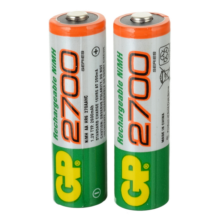 GP 1.2V 2700mAh Ni-MH Rechargeable AA Batteries (2-Pack) 3 6v 2400mah rechargeable battery pack for psp 3000 2000