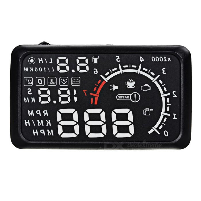 "Upgraded 5.5"" HUD Head-Up Display w/ OBD Cable - Black + Multi-Colored"