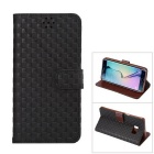 MO.MAT Gird Pattern PU Leather Wallet Case w/ Stand / Card Slots for Samsung Galaxy S6 Edge Plus