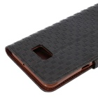 Grid Pattern Case w/ Card Slot for Samsung S6 Edge Plus - Black
