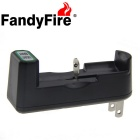 FandyFire US Plugss 1-Slot Charger + 2000mAh 18650 Rechargeable Battery