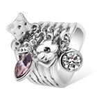 Xinguang Wave Magic Wand Crystal Finger Ring - Silver