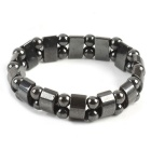12mm Lodastone Anti-radiation Healthy Bracelet - Silverey Black