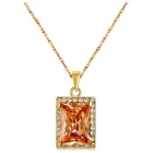 Xinguang Square Crystal Inlaid Necklace for Women - Gold