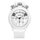 MEGIR Men's Multifunctional Waterproof Silicone Strap Analog Quartz Sports Watch - White