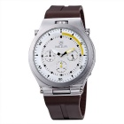 MEGIR Men's Waterproof Silicone Wristband Sport Watch - White + Brown