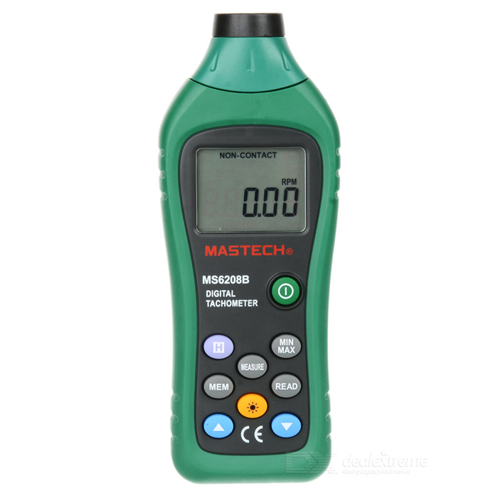MASTECH MS6208B 50~99999RPM Non-Contact Digital TachometerTesters &amp; Detectors<br>Form  ColorGreen + Black + Multi-ColoredModelMS6208BQuantity1 DX.PCM.Model.AttributeModel.UnitMaterialABSScreen Size1.6 DX.PCM.Model.AttributeModel.UnitPowered ByAAA BatteryBattery Number4Battery included or notYesPacking List1 x MASTECH MS6208B Digital Tachometer 1 x Reflective Sheeting4 x AAA batteries1 x Carrying Bag 1 x English Manual<br>