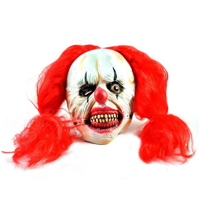 Red Hair Clown Monster Style Rubber Mask for Cosplay - Red