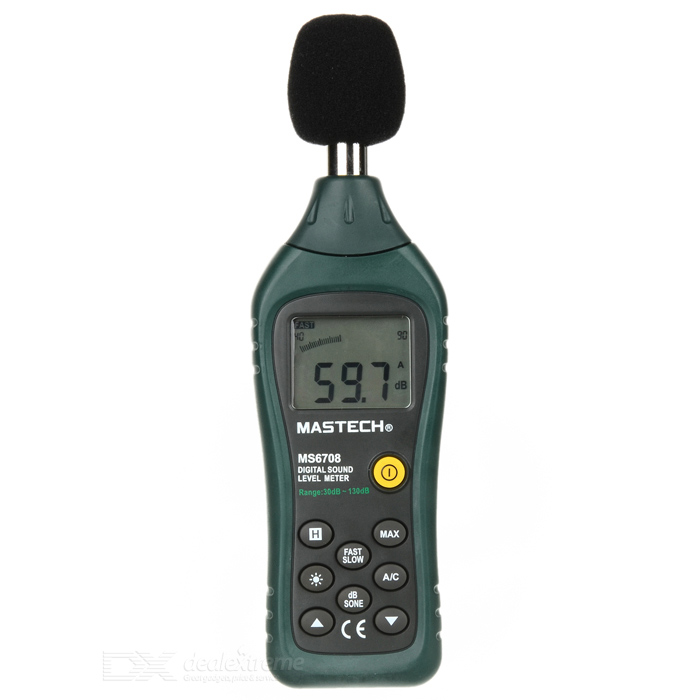 MASTECH MS6708 Digital Sound Level dB Meter 30dB~130dBTesters &amp; Detectors<br>Form  ColorDark Green + BlackModelMS6708Quantity1 DX.PCM.Model.AttributeModel.UnitMaterialABSScreen Size1.6 DX.PCM.Model.AttributeModel.UnitPowered ByAAA BatteryBattery Number4Battery included or notYesPacking List1 x MASTECH MS6708 Digital Sound Level Meter 1 x English Manual 1 x Carrying Case 1 x Sponge ball<br>