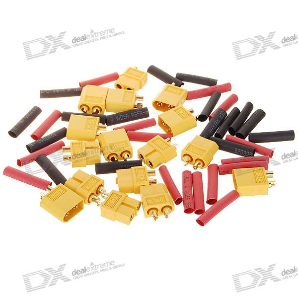 XT60 Connectors with Heat Shrink Tubing for RC Battery (8 Pairs)