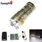 FandyFire 4-LED 4000lm Cool White 5-Mode Super Bright Flashlight - Golden (4x18650)