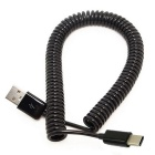 Cwxuan USB-C 3.1 Type C M to USB 2.0 A M Spring Cable - Black (3m)