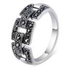 Xinguang Mosaic Crystal Ring for Women - Silver (US Size 8)