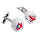 Men's Motorcycle Helmet Design Brass Cufflinks - Silver + White + Multi-Color (Pair)