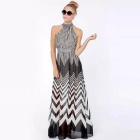 Perspective Wave Stripe Mosaic Pattern Halter Chiffon Long Dress - Black + White (XL)