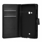 Litchi Pattern Flip PU Case w/ Card Slots for Nokia Lumia 625 - Black