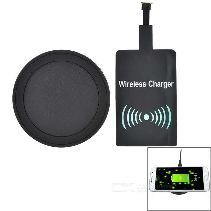 Qi Wireless Charging Pad + Receiver Module Set for Samsung - Black