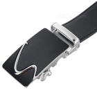 "Men's Cow Split Leather Belt w/ ""S"" Pattern Buckle - Silver + Black"