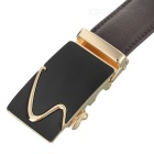 "Men's Cow Split Leather Belt w/ ""S"" Pattern Buckle - Golden + Coffee"