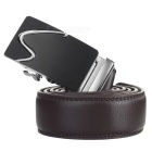 "Men's Cow Split Leather Belt w/ ""S"" Pattern Buckle - Silver + Coffee"