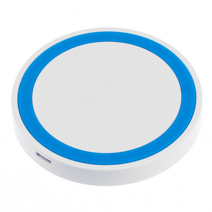QI Wireless Charger Charging Pad for Phone &amp; More - White + BlueWireless Chargers<br>Form  ColorWhite + bluePower AdapterOthersQuantity1 DX.PCM.Model.AttributeModel.UnitMaterialABSExecutive StandardQiShade Of ColorWhiteTypeChargerCompatible ModelsUniversalTransmition Distance&gt;=6mmCharging Efficiency75%Built-in BatteryNoCable Length85 DX.PCM.Model.AttributeModel.UnitInput5V / 2AOutput interface, output current, output voltage5V / 1.5APacking List1 x Wireless charger 1 x Charging cable (85cm) 1 x Manual<br>