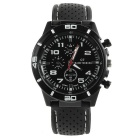 Men's Fashion Rubber Band Sport Quartz Wrist Watch - Black + White