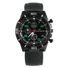 Men's Fashion Silicone Rubber Band Sport Analog Quartz Wrist Watch - Black + Green (1 x LR626)
