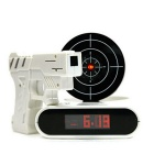 Pistol Targeting Infrared USB Table Alarm Clock / Desk Clock w/ Recording Function - White