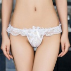 Women's Sexy Lace Pearl Massage Open Crotch Thong G-String Panties Underwear - White