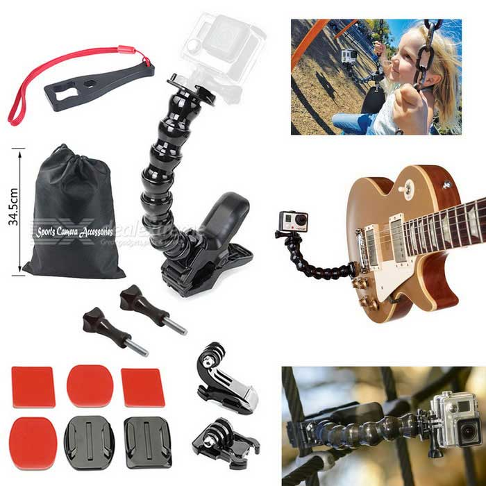 Jaws Flex Clamp Mount Kit, Camera Accessories for Gopro Hero SeriesMounting Accessories<br>Form  ColorBlackQuantity1 DX.PCM.Model.AttributeModel.UnitMaterialPlasticShade Of ColorBlackCompatible ModelsOthers,GoPro Hero 1,GoPro Hero 2,GoPro Hero 3,GoPro Hero 3+,GoPro Hero 4,GoPro Hero 4 SessionRetractableNoMax.Load500 DX.PCM.Model.AttributeModel.UnitPacking List1 x Jaws Flex Clamp Mount1 x Adjustable Neck 1 x Plastic Spanner2 x Long screw bolts 1 x Buckle basic mounts1 x Vertical surface J-hook buckles1 x Flat mounts1 x Curved mounts2 x Square double-sided adhesive tapes2 x Oval double-sided adhesive tapes1 x Bag<br>