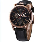 MEGIR Men's Waterproof Leather Band Quartz Watch - Black (1*SR626-06)