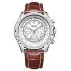 MEGIR Men's Waterproof Genuine Leather Band Analog Quartz Sports Watch - Brown + Silver White