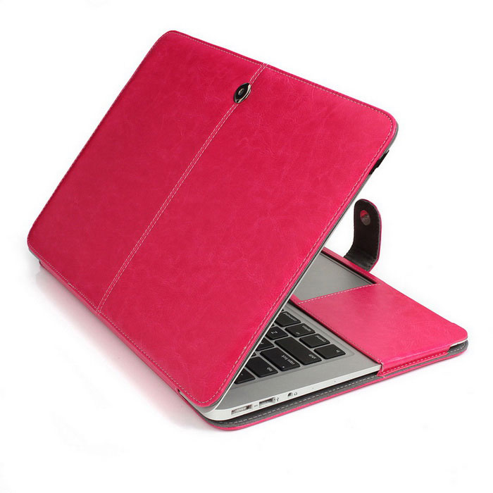 "ASLING Protective PU Leather Case for MACBOOK AIR 11.6"" - Dark Pink"