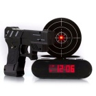 Pistol Targeting Infrared USB Table Alarm Clock / Desk Clock w/ Recording Function - Black