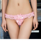 Women's Sexy Pearl Massage Thong G-String Panties - Pink + White